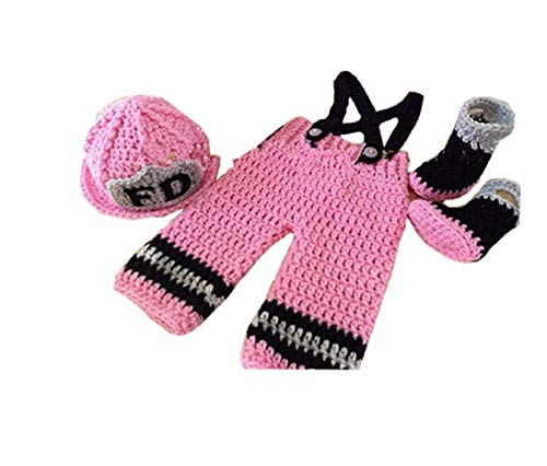 Newborn Baby Girl/Boy Crochet Knit Costume Photography Prop Hats and Outfits (Pink -