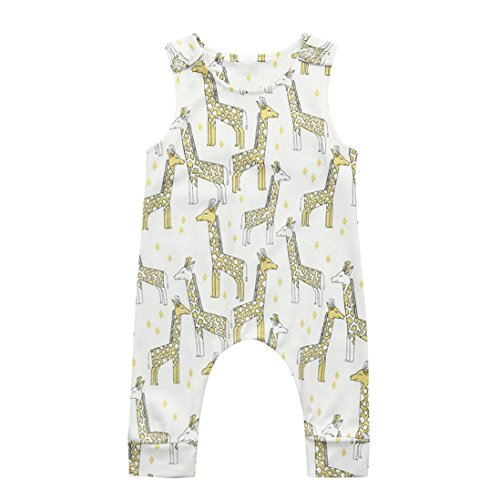 FEITONG Cute Newborn Infant Baby Boys Girls Cartoon Print Romper Jumpsuit Outfits (Beige, 18-24M)