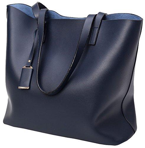 Set Bag pcs Leather Faux Capacity Ladies Black Tote Big 2 Blue Bag Handbag Large Shoulder B7qPvqw