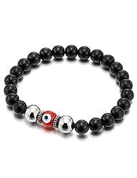 Mens Women Mat Black Bead Bracelet with Murano-Style Glass Evil Eye Bead, Protection Prayer Mala
