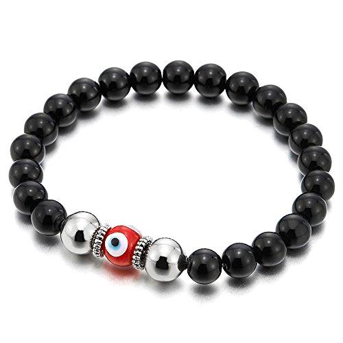 COOLSTEELANDBEYOND Mens Women Black Onyx Bead Bracelet Murano-Style Glass Evil Eye Bead, Protection Prayer, - Glass Bracelet Evil Eye