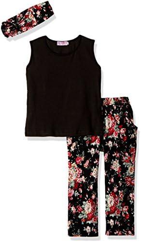 [Sponsored] Jastore Girls Sets 3PCS Sleeveless Shirt/Tops + Floral Pants + Headband Clothes