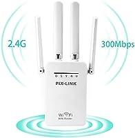 WiFi Range Extender Signal Booster 4 External Antennas 2.4GHz Fast Speed 300Mbs Wi-Fi Repeater