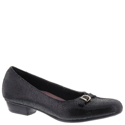 Clarks Women's Caswell Genoa Flat Black Metallic Leather Size 5.5