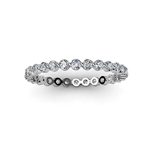 TriJewels Floating Diamond Womens Eternity Band 0.69 to 0.81 ctw in Platinum.size 7.0