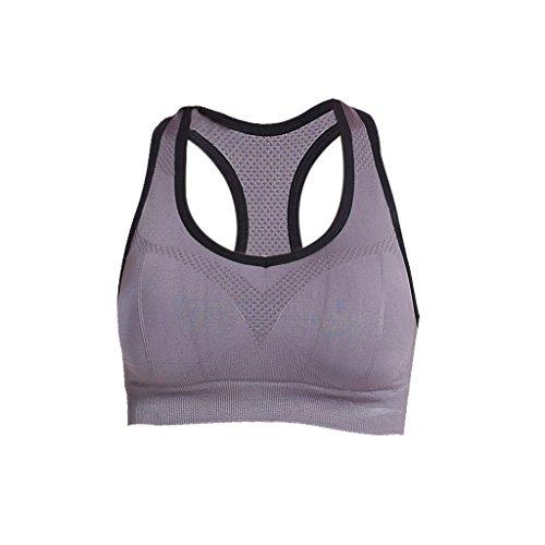 Soutien-gorge Femmes Tops Vêtements de Sport Yoga U Cou Push Up - M, Gris