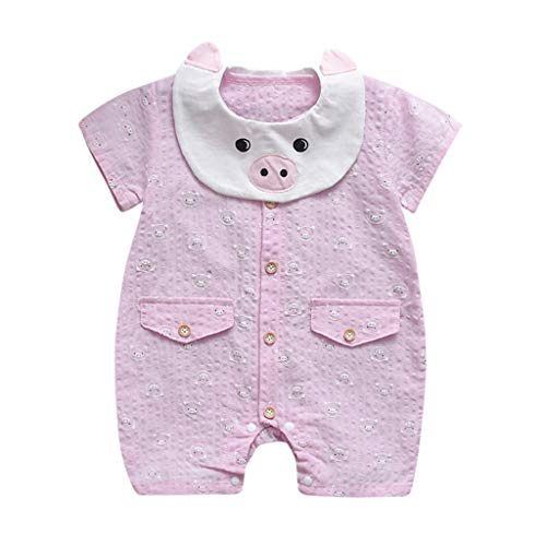 AutumnFall 0M-18M Cute Summer Newborn Baby Boys Girls Short Sleeve Jumpsuit Pig Print Rompers Nightshirt (Age:3-6 Months, Pink)