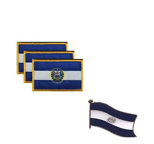 "Pack of 3 El Salvador Flag Patches 3.50"" x 2.25"", El Salvadorian Embroidered Iron On or Sew On Flag Patch Emblem Plus A Free El Salvador Flag Lapel Pin"