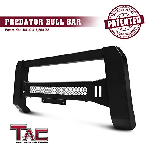 TAC Modular Bull Bar Fit 2005-2019 Nissan Frontier Truck Pickup Front Bumper Brush Bumper Grille Guard Textured Black LED Off-Road Lights Predator Mesh Version (License Plate Bracket Included) (Brush Guard For Nissan Truck)