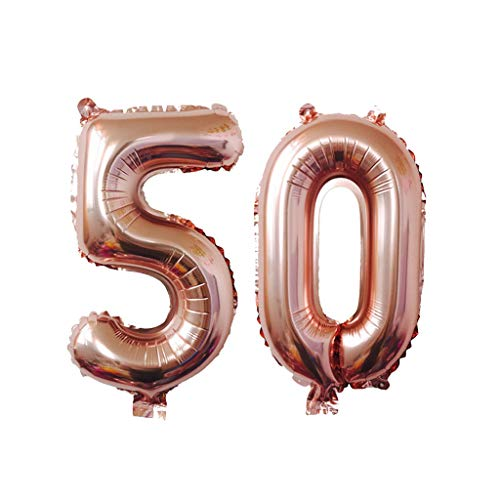 Ouniman 2 Pcs 40 Inch Rose Gold Jumbo Digital Number Balloons Huge Giant Balloons Foil Mylar Number Balloons for Birthday Party,Wedding, Bridal Shower Engagement Photo Shoot, -