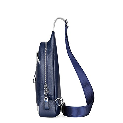 Luckyer Beauty Piel Aut¨¦ntica Mujer Hombre Sling ¨C Mochila de un hombro mochila para viaje Negro Azul