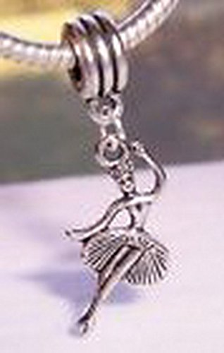 [Beads Hut - Ballet Dancer Ballerina Dance Dangle Bead fits Silver European Charm Bracelets] (Aztec Dancers Costumes)