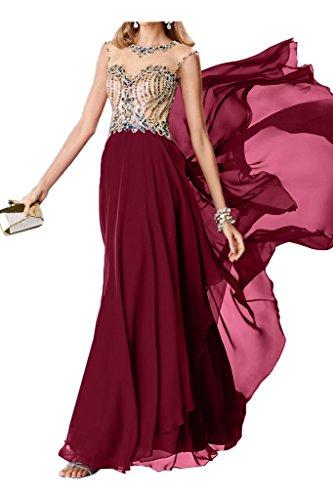 Weinrot Damen Chiffon Ivydressing Partykleid Abendkleid Steine Rundkragen Modisch Rueckenfrei Promkleid Festkleid vA6rvX