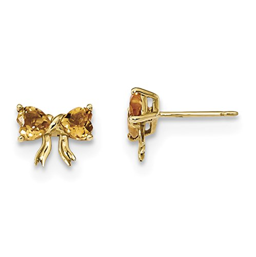 ICE CARATS 14k Yellow Gold Citrine Bow Post Stud Ball Button Earrings Set Birthstone Style Fine Jewelry Gift Set For Women Heart by ICE CARATS