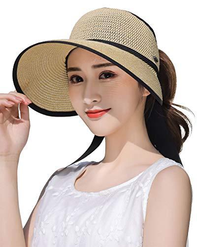 Women's Summer Crushable Straw Sun Visor w/Cute Bowtie Roll Up Beach Straw Hat Beige