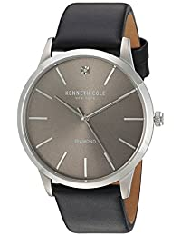 Kenneth Cole New York Men's 'Diamond' Quartz Stainless Steel and Leather Dress Watch, Color:Black (Model: 10031277)