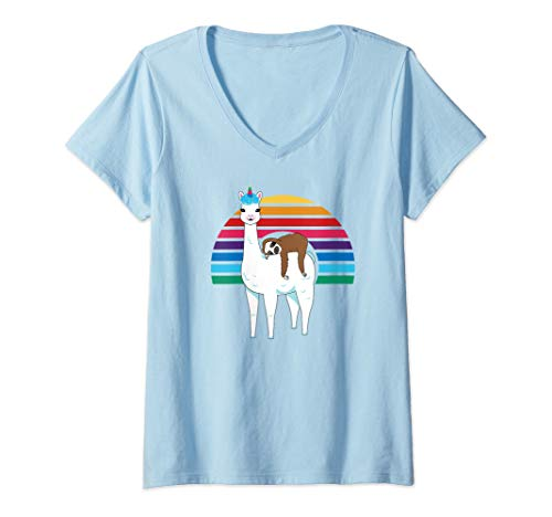 - Womens Funny Sloth Riding Cute Unicorn Llama Retro Rainbow V-Neck T-Shirt