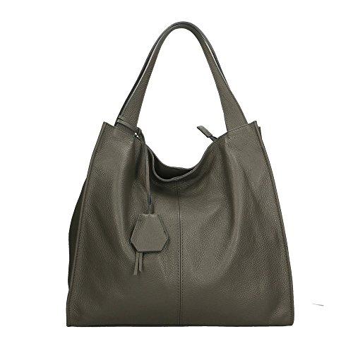 Aren sac à bandoulière pour femme en cuir véritable fabriqué en italie - 40x36x10 Cm Vert