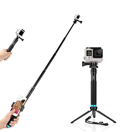 Selfie Stick, Adjustable Extension Selfie Pole with Tripod Stand Waterproof Extension Pole for GoPro Hero 6, Hero 5, 4, Session, 3+, 3, 2, HD Cameras (Black)