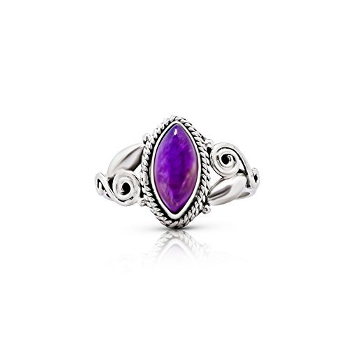 Sterling Silver Cabochon Amethyst Ring - Koral Jewelry Amethyst Vintage Gipsy Spiral Side Small Ring 925 Sterling Silver Boho Chic US Size 5 6 7 8 9 (8)