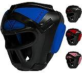 RDX Maya Hide Leather Boxing MMA Protector Headgear UFC Fighting Head Guard Sparring Helmet,Blue,X-Large