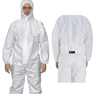 trixes white paint spray dust protective suit zip up full