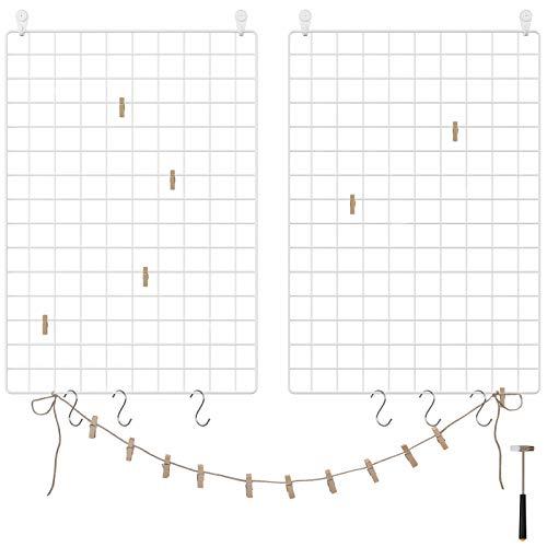 - SONGMICS Grid Panels, Set of 2, Photo Wall Display, Metal Mesh Wall Decor, Multifunctional Hanging Picture Wall, DIY, Art Display, S Hook, Clips, Hemp Cord, White ULPP02W