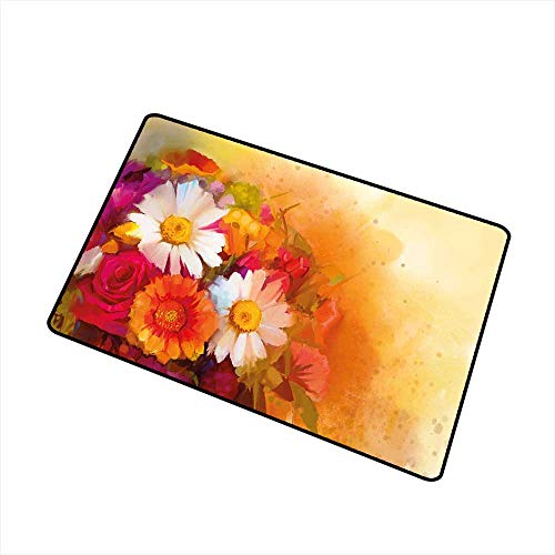 Buck Haggai Entrance Mat Floral,Vivid Flower Bouquet with Roses Daisy Gerbera Blossoms Flourishing Artwork,Orange Magenta White,Indoor Outdoor, Waterproof, Easy Clean, Low-Profile Mats,35