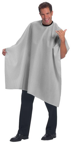 Betty Dain Seersucker Classic Barber Cutting / Styling Cape, Black / White Stripe
