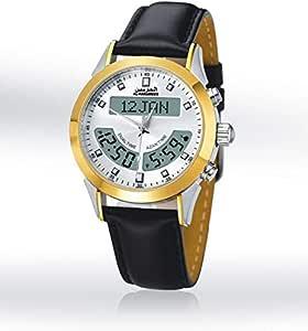 ساعة يد رجالي من الحرمين ، انالوج و ديجيتال ، جلد ، اسود ، HA-6102WK