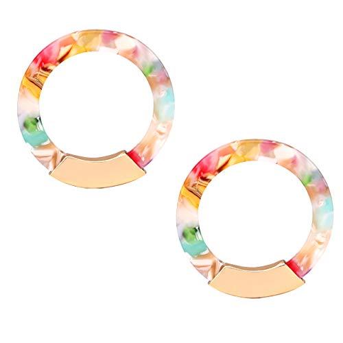 Earrings Lucite Pierced (XOCARTIGE Acrylic Earrings for Women Tortoiseshell Hoop Earrings Bohemia Statement Dangle Stud Earrings for Women Gilrs (B Pink Flower))