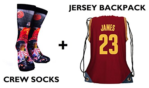 Forever Fanatics Cleveland James #23 Ultimate Basketball Fan Gift Set Bundle ✓ James #23 Crew Socks Sizes 6-13 ✓ Matching James #23 Jersey Drawstring Backpack Gym Bag (Size 6-13, James #23 Gift Set)