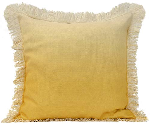Urban Loft by Westex Ombre Fringe Yellow Feather Filled Decorative Throw Pillow Cushion 20