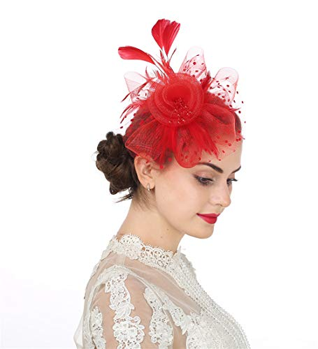 Red Hat Fashion - Fascinator Women's Organza Church Kentucky Derby British Bridal Tea Party Wedding Hat Summer Ruffles Cap (Hj4-Red)