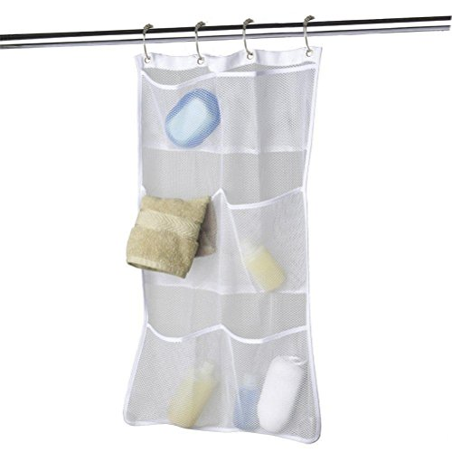 Quick Dry Hanging Caddy and Bath Organizer with 6-pocket, Hang on Shower Curtain Rod / Liner Hooks, Shower Organizer, Mesh Shower Caddy, Bathroom Accessories, Save Space in Small Bathroom Tub with 4 Rings