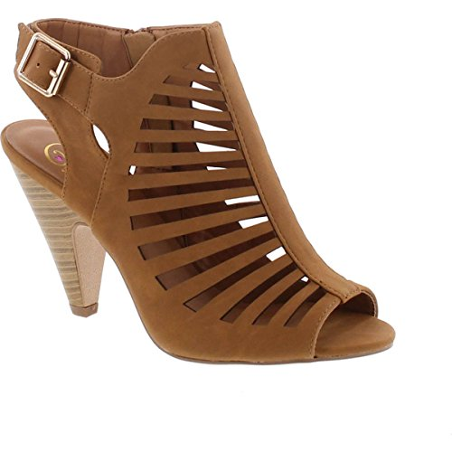 SNJ Womens Cut Out Strappy Buckle Sling Back Chunky High Heel Sandals (7 B(M) US, Tan Stack)