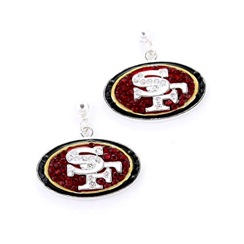 NFL Football San Francisco 49ers Crystal Logo Earrings in Red, Black, White and Gold Crystal San Francisco 49ers Football