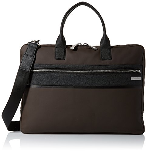 Calvin Klein Men's Nylon with Saffiano Trim Slim Attache, Dark Chocolate Brown by Calvin Klein