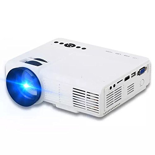 Projector, (Warranty included) JIFAR 2017 Update HD Multimedia Video Projector Huge Screen Portable LED Projector Support up to HD 1080P Video HDMI VGA AV TF USB Input-White