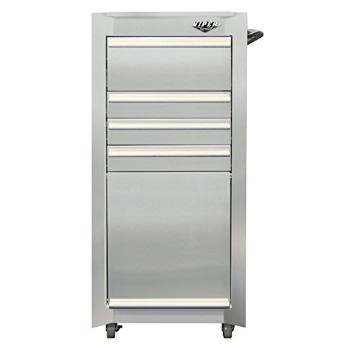 Viper Tool Storage V1804SSR 16-Inch 4-Drawer Stainless Steel Rolling Tool / Salon Cart, with Bulk Storage
