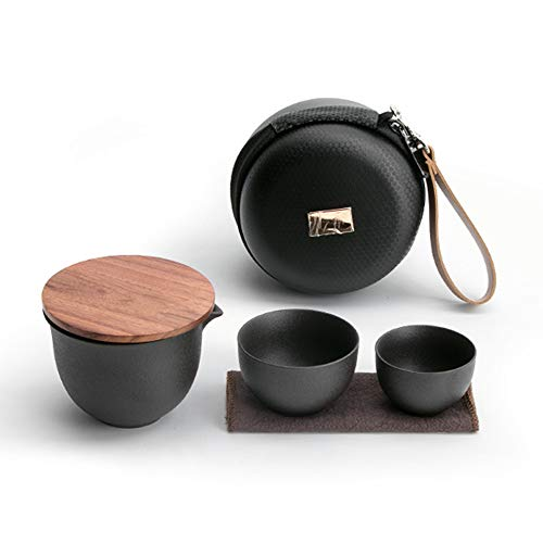COLORFULTEA - Travel Tea Sets - Black Pottery Travel Tea Set With Bag/Chinese Style Portable Tea Set With Handbag/Teapot With Infuser & Bamboo Lid And Two Cups/All-in-one Portable Design Travel