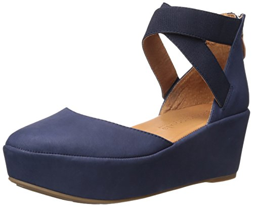 Gentle Souls Women's Nyssa Wedge With Elastic Ankle Straps Platform, Navy, 9 M US by Gentle Souls