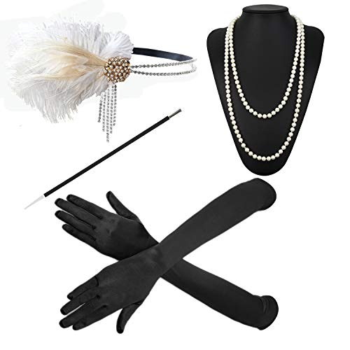 - ZeroShop 1920s Accessories Headband Earrings Necklace Gloves Cigarette Holder (Medium, M22)