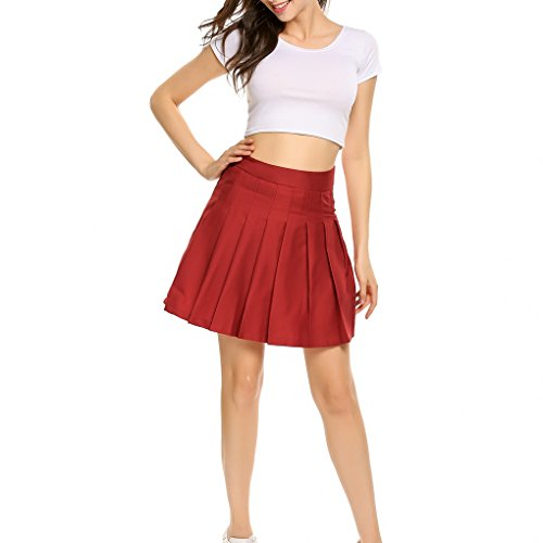 Red School Dress (COSYOU Girl`s Short Pleated School Dresses for Teen Girls Tennis Scooters Skirts (M, Wine Red))