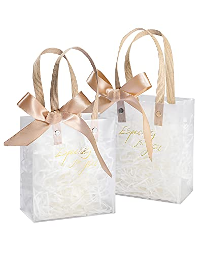 AYOTEE Small Gift Bags Bulk, Frosted Plastic Clear Gift Bags with Handles Small Reusable Gift Bags for Wedding, Birthday, Valentines, with Champagne Paper Filler and Ribbon 4 Pack - 5.3x2.7x5.9 inches