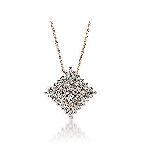 Diamond 14k Square Pendant - 8