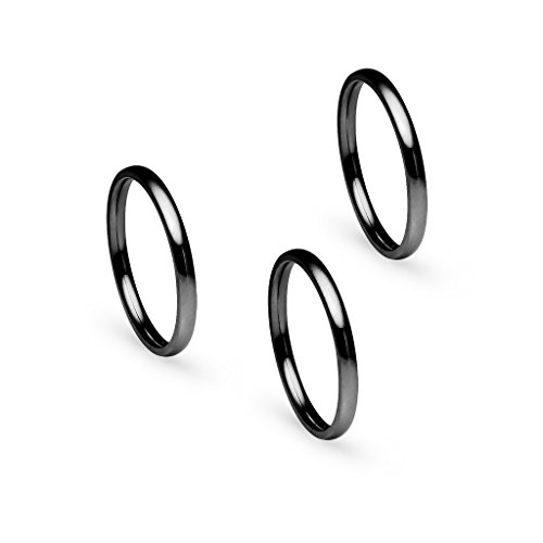 Silverline Jewelry 3pcs 2mm Stainless Steel Women's Plain Band Fit Black Tone Size 6.5