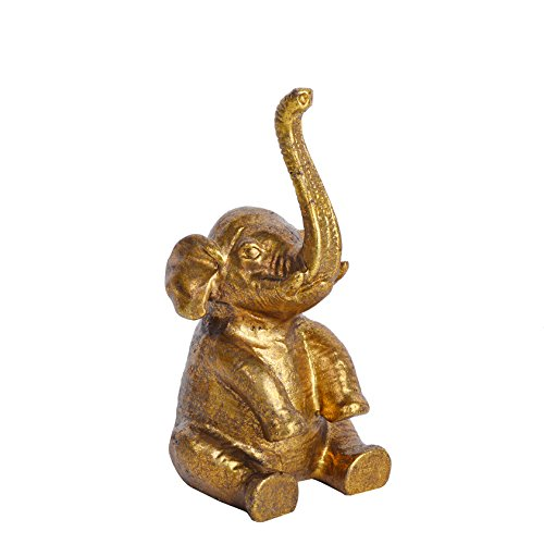 NIKKY HOME Pewter Elephant Ring Holder, Distressed Gold ()