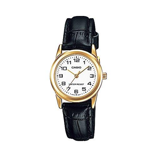 Casio Women's LTPV001GL-7B Black Leather Quartz Watch
