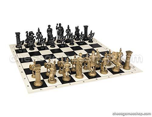 (Roman Chess Set - Vinyl Chess Board Black / White- Size 17,3